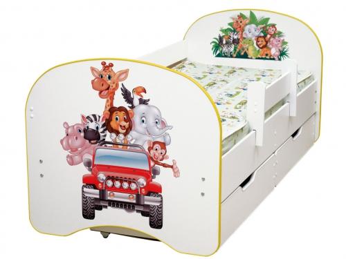 Кровать детская с фотопечатью с 2-мя ящиками Зоопарк