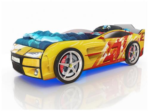Кровать-машинка Romack Kiddy желтая-линии