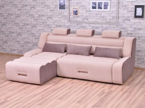 Угловой диван Медео с оттоманкой Elva mocca-Elva vision