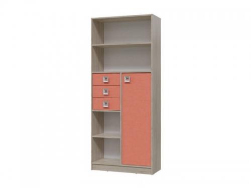 Шкаф стеллаж с дверкой и ящиками Сити Коралл